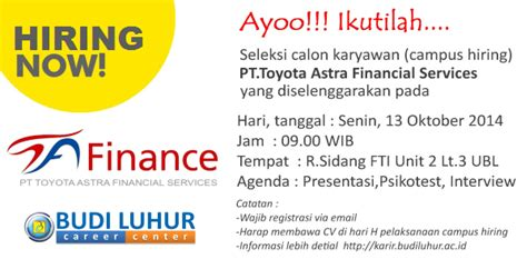 Careers At Toyota Financial Services Cus Hiring Pt Toyota Astra Financial Services Budi