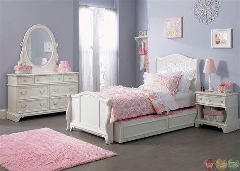 youth bedroom set arielle white finish youth traditional sleigh bedroom set