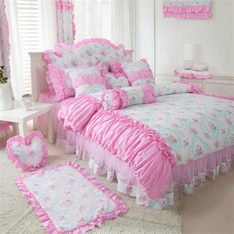 pink princess bedding cotton korean lovely comforter bedding sets twin pink