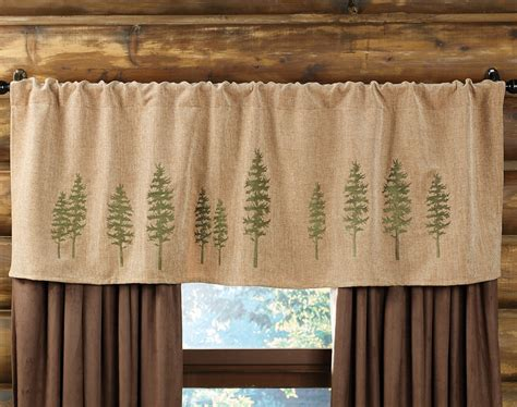 lodge decor curtains highlands cabin tree rod pocket valance mountain cabin