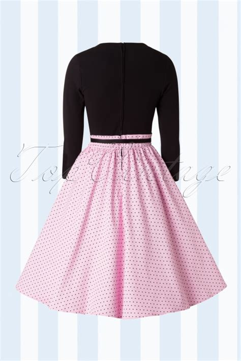 home allison dress in baby pink pin dots with black 50s allison swing dress in baby pink pin dots and black