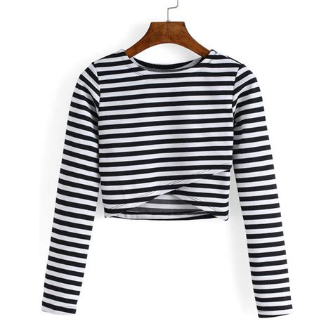 Neck Cropped T Shirt neck striped cropped tshirt jump in shirt