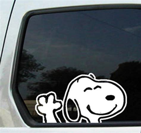 Aufkleber F R Auto Beagle by Snoopy Waving 6 Quot White Vinyl Sticker Decal Ikon Sign