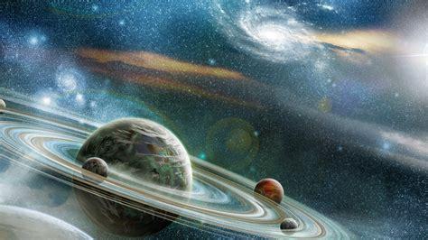 wallpaper planet stars saturn galaxy  space