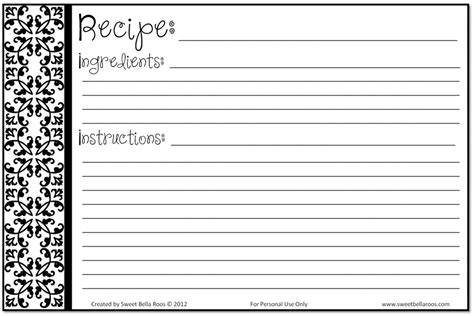 free black and white recipe card template word free printable recipe cards help you save money while
