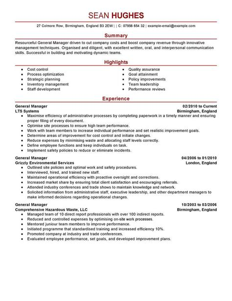 Professional Resume Format For General Manager by Best General Manager Resume Exle Livecareer