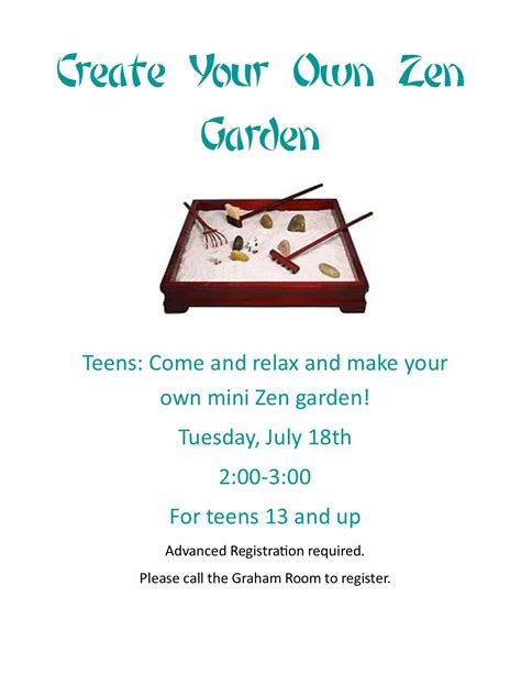 make your own zen garden eventkeeper at west haven public library plymouth rocket