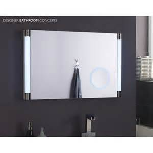 led bathroom mirrors lara designer led bathroom mirror with magnifying mirror