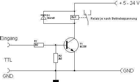 transistor als schalter bc337 treiberschaltung schalten steuern eines relais mit ttl signal 5v treiberschaltung