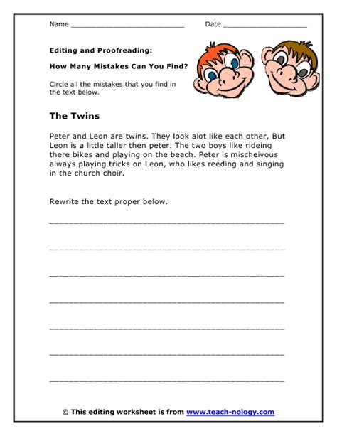 Proofreading Worksheets by How Many Mistakes Can You Find