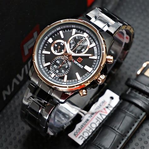 Naviforce Original Goldblack jual beli jam tangan naviforce paket nf9089 blackgold