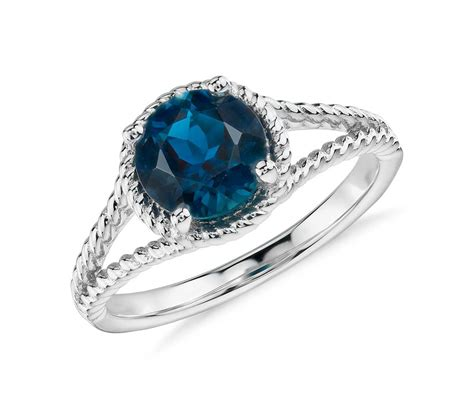 blue topaz rope ring in sterling silver 7mm