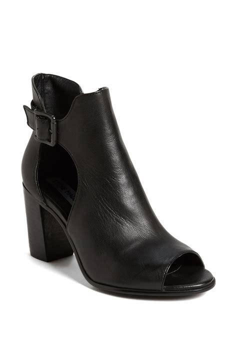 steve madden nextstar peep toe bootie in black black leather lyst