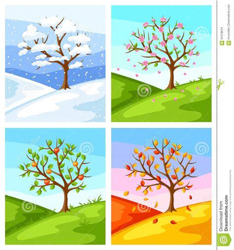 imagenes de invierno otoño verano primavera cuatro estaciones ejemplo del 225 rbol y del paisaje en el
