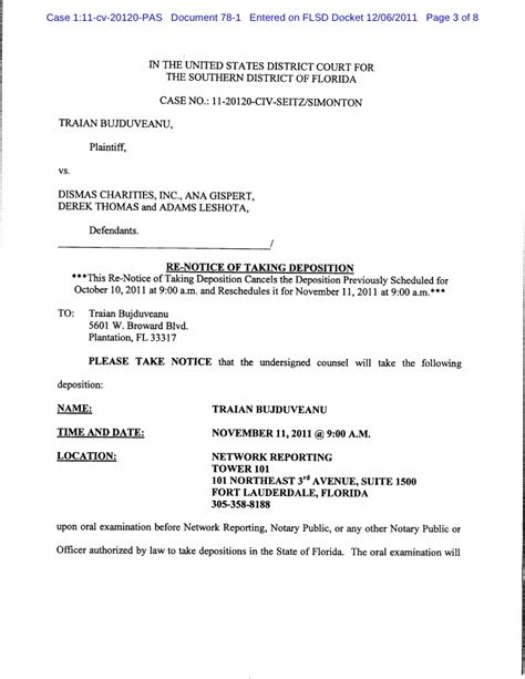 Mother In Law Suite notice of taking deposition