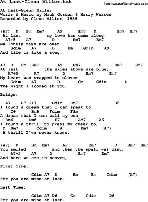 At Last by Jazz Song At Last Glenn Miller With Chords Tabs And