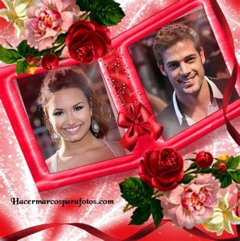 poner dos imagenes juntas latex marco para dos fotos con detalles de rosas y corazones