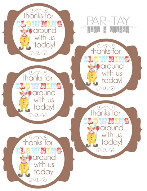 printable birthday favors circus party favor tags party like a cherry