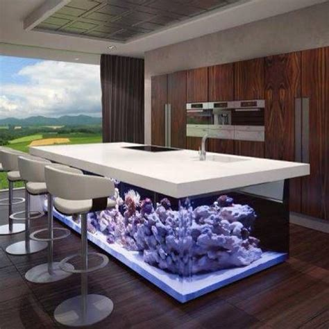 fish tank bench beautiful purple white aquariums design below kitchen