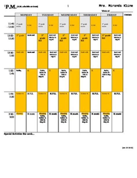 special education teacher schedule template with sle