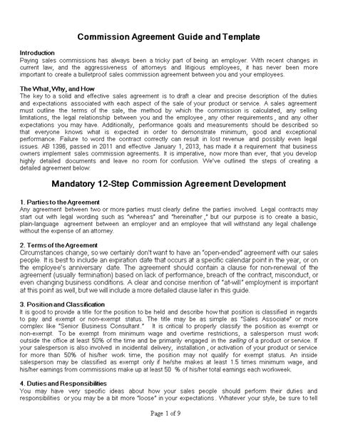 employee sales commission agreement template free sales commission agreement templates at