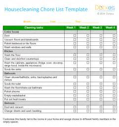 Chore List Template by House Cleaning Chore List Template Weekly Dotxes