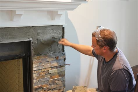 Fireplace Tile Installation by Building Our Fireplace Installing The Slate Split