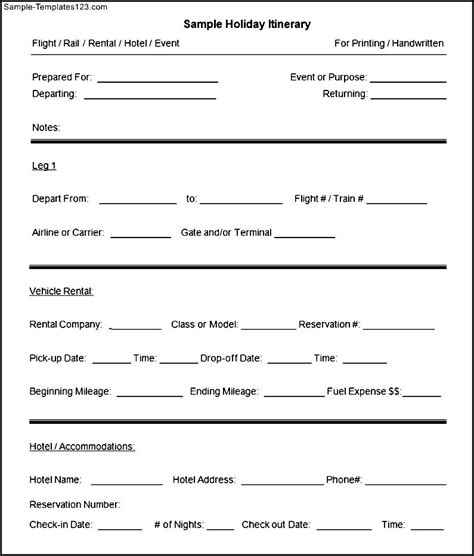 blank sle holiday itinerary template sle templates