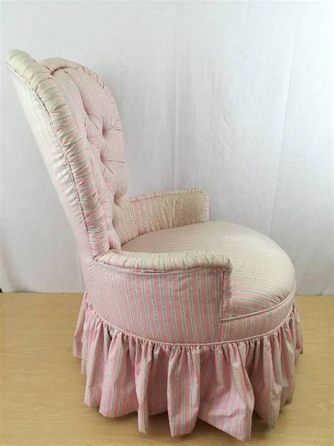 Pink Boudoir Chair by Vintage Shaped Pink Stripe Tufted
