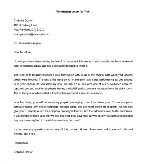 termination employment letter template business