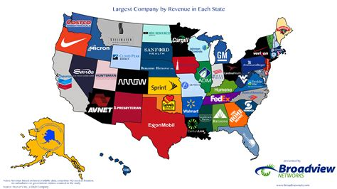 League Mba Schools In Usa by Largest Companies By Revenue In Each State Map