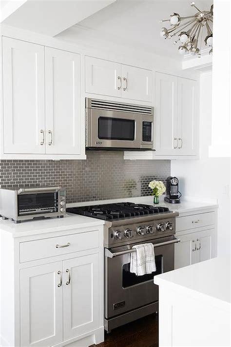 Kitchen Tile Backsplash Kitchen With Gray Mini Brick Tile Backsplash Transitional