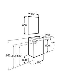 mueble de ba 241 o roca mini lavabo y espejo 45x25