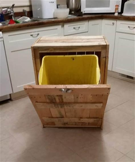 diy pallet trash can cabinet pallet kitchen trash can holder 101 pallet ideas