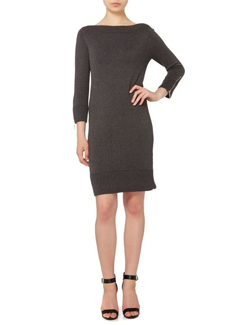 michael kors knit dress michael kors 3 4 sleeve boatneck zip knit dress in gray lyst