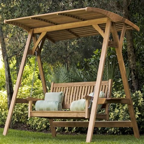 outdoor swing teak veranda porch swinging bench with canopy outdoor