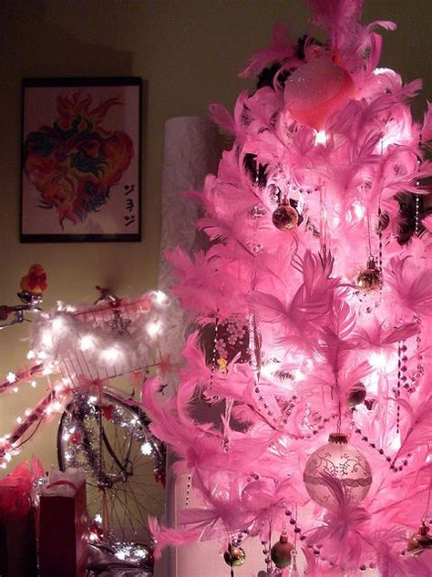 pink feather christmas tree my dream house pinterest