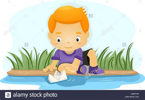 clipart paper boat illustration of a boy pushing a paper boat down a river