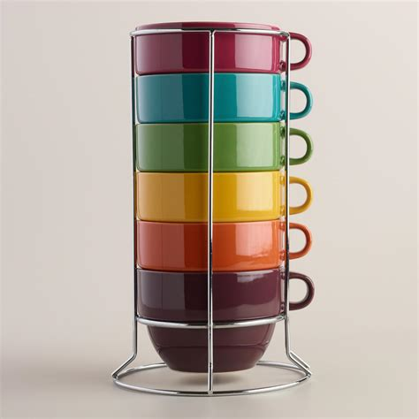 Stackable Coffee Mugs With Rack by Jumbo Fall Stacking Mugs Set Of 6 Metal Rack