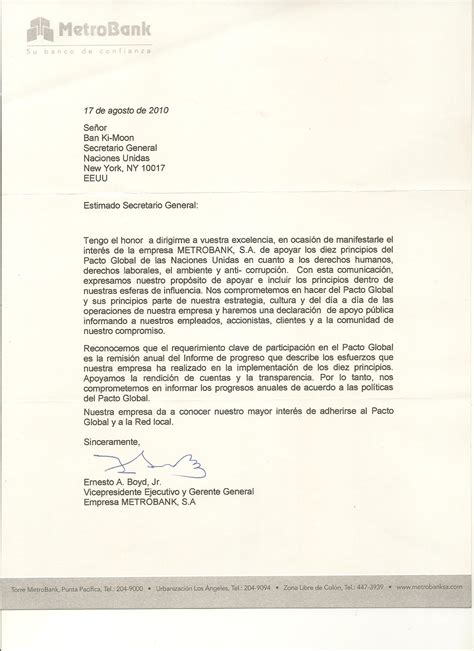 Bank Letter Of Commitment metrobank s a un global compact