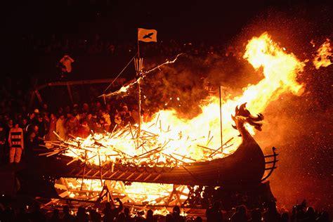 the up helly aa viking fire festival in shetland scotland - Viking Fire Boat
