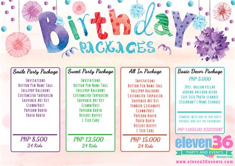 birthday package eleven party  cebu