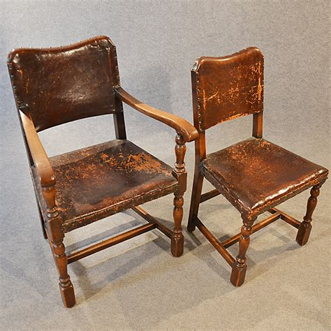 6 Leather Dining Chairs Antique Set 6 Six Oak Leather Dining Chairs Inc Antiques Atlas