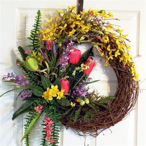 spring wreath wreath spring spring tulip wreath by spring grapevine wreath spring summer wreath tulip