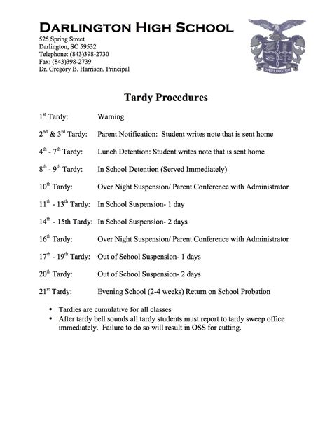 Explanation Letter For Tardiness Tardy Procedures Darlington High School