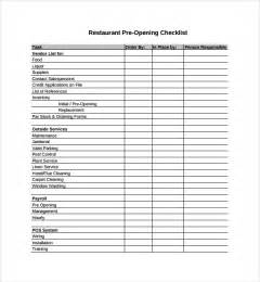 Restaurant Checklist Template by Sle Restaurant Checklist Template 9 Free Documents