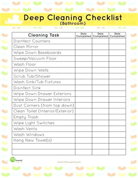 Bathroom Checklist Template bathroom cleaning checklist template commercial cleaning