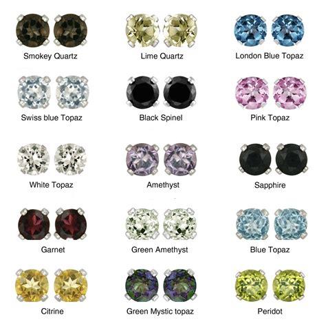 glitzy rocks sterling silver gemstone 6 mm stud earrings