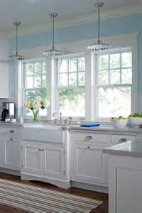 Light Blue Kitchen Cabinets Glass Pendant Lighting White Farm Sink Kitchen Windows White Cabinets Light Blue Walls