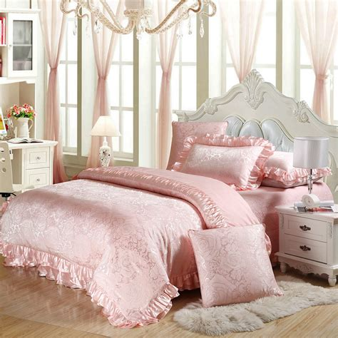 pink cotton satin bedding set queen king size 4pc or 6pcs